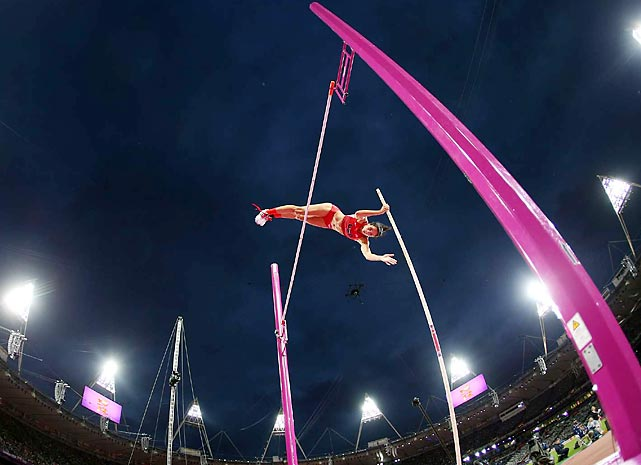 Jennifer Suhr of the U.S. wins gold at the women's pole vault.