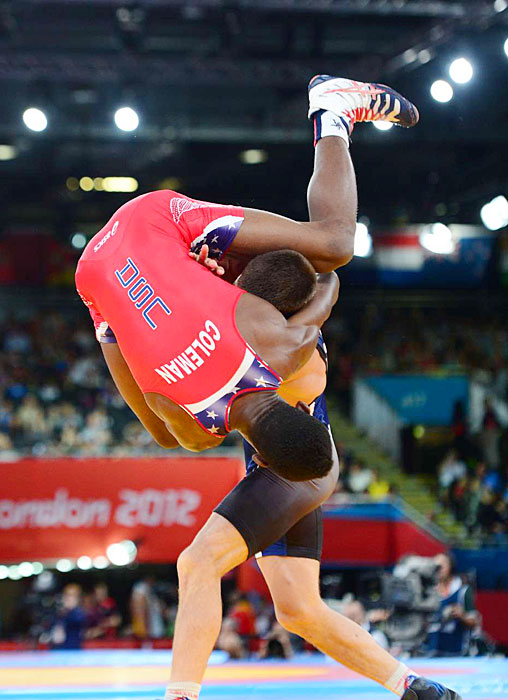 Behind in his opening match against Bulgaria's Ivo Angelov, U.S. Greco-Roman wrestler Ellis Coleman tried his signature Flying Squirrel move -- to no avail. Angelov went on to win 3--1.