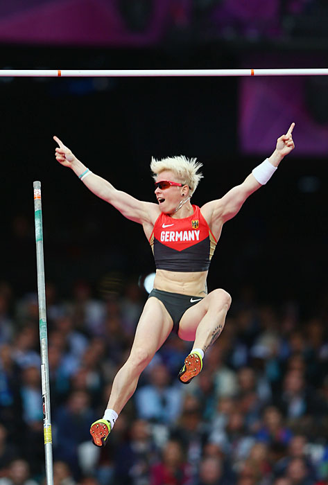 Martina Strutz of Germany reacts after clearing the bar in the Pole Vault final.