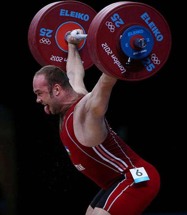 Ruslan Nurudinov of Uzbekistan offered a Jordanesque celebration on his way to finishing fourth in the 105-kg (231-pound) weightlifting class.