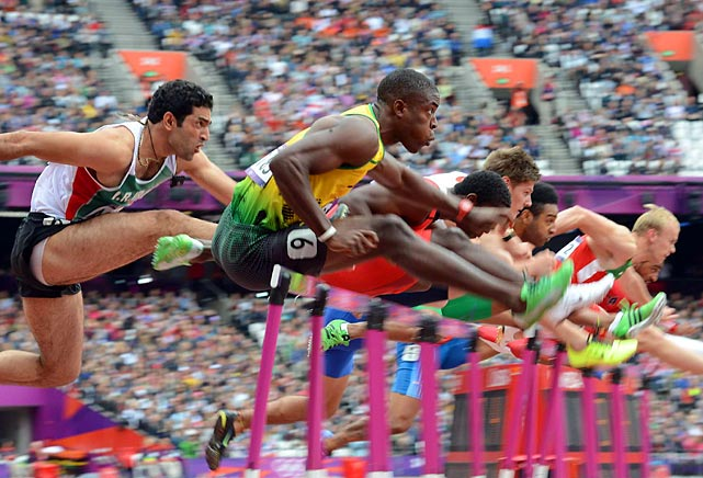 The men's hurdling competition started on Day 11 with preliminary rounds in the 110-meters.