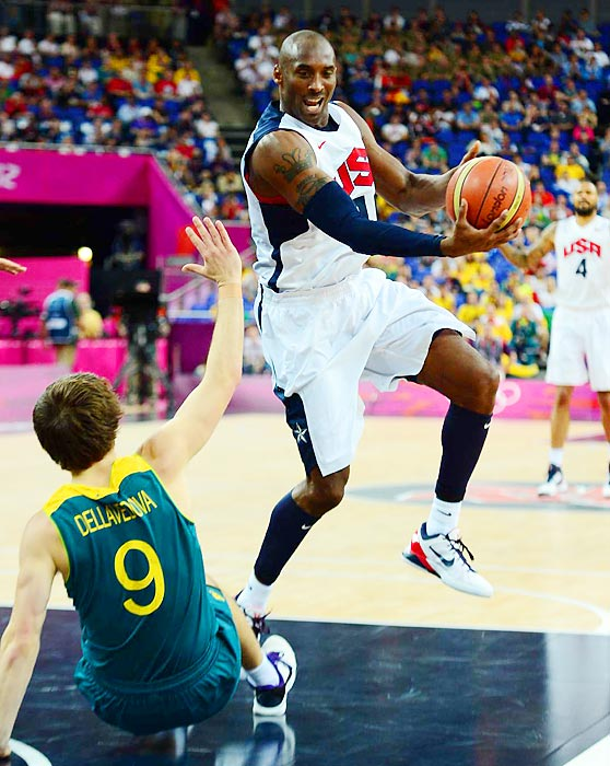 Kobe Bryant scored 20 points, including six 3-pointers, in the second halfas the U.S. pulled away for a 119-86 win over Australia to advance to the Olympic men's basketball semifinals.