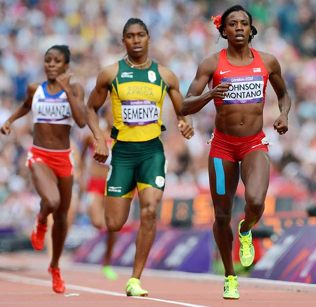 Caster Semenya of South Africa qualified for the next round of the 800-meter run by finishing second in her heat. Alysia Johnson Montano of the U.S. won the heat in a time of 2:00.47.