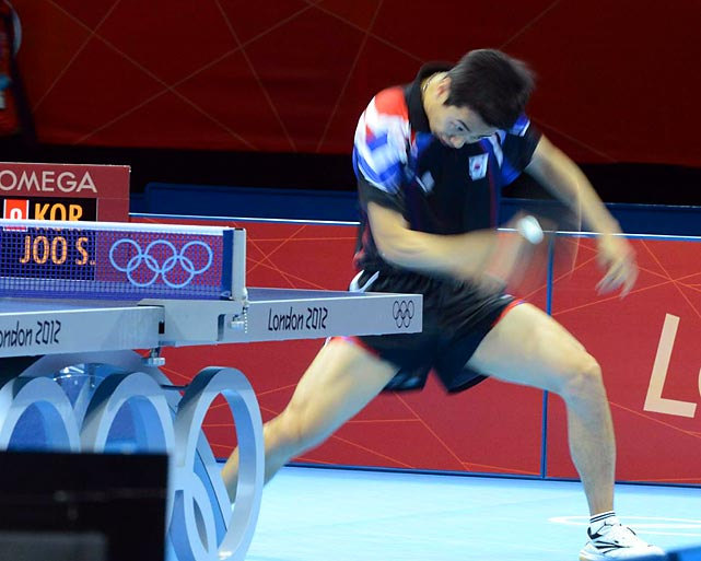 Joo Saehyuk (pictured) and Ryu Seungmin of South Korea lost 3-0 to China in the gold medal team table tennis match.
