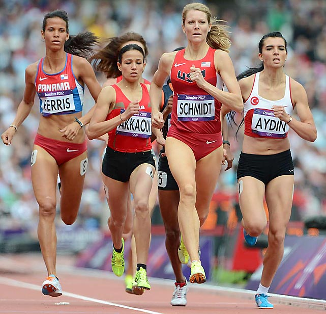 Alice Schmidt of the U.S. ran a 201.65 to qualify for the next round of the 800-meter run.