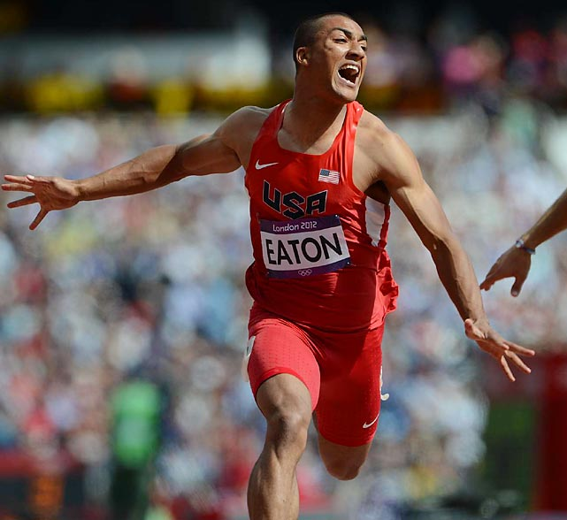 Ashton Eaton got his bid for the decathlon gold off to a good start by winning the 100-meter dash, setting an Olympic record in the process.