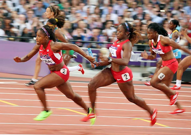 U.S. anchor Lauryn Williams took the baton from Bianca Knight and brought the Americans 4x100-meter relay qualifying team home in 41.64 seconds, the second-fastest Olympic time ever.