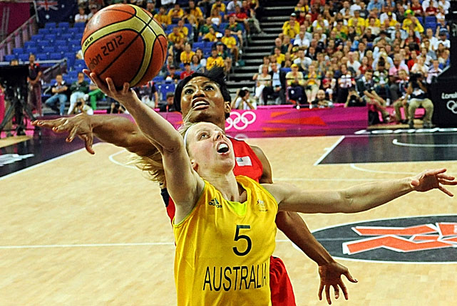 Angel McCoughtry attempts to stop Australian guard Samantha Richards in a game that the U.S. won to qualify for the gold medal game.