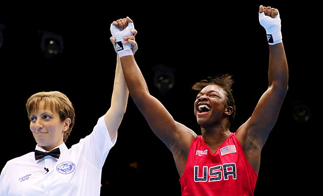 Claressa Shields of the United States rejoices after defeating Nadezda Torlopova of Russia to win the gold medal in the 75kg division at the London Games.