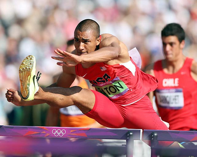 American decathlete Ashton Eaton finished second to teammate Trey Hardee in the 100-meter hurdles portion of the decathlon but ruled the day to win the gold medal.