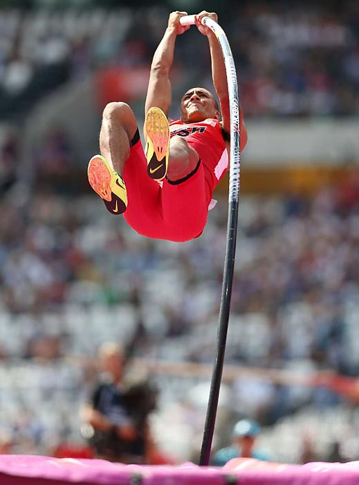 Ashton Eaton finished third in the pole vault on his way to the decathlon gold medal.