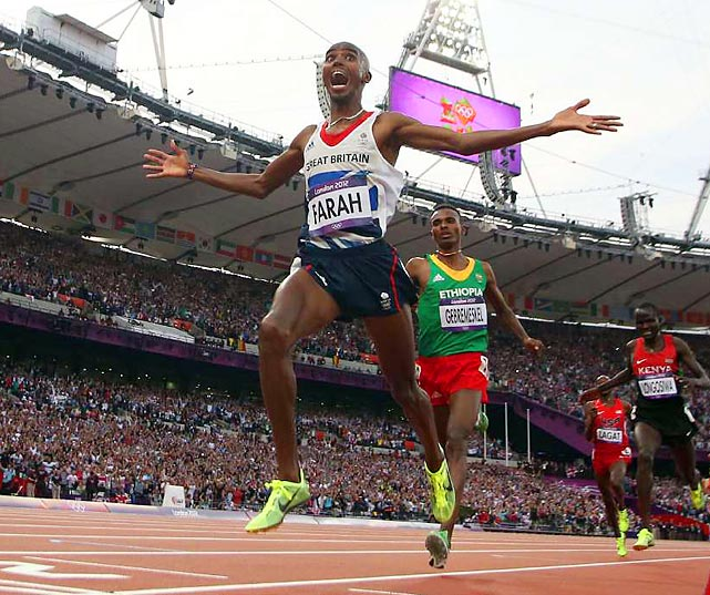 A week after winning the 10,000 meters, Britain's Mo Farah took the 5,000 too.