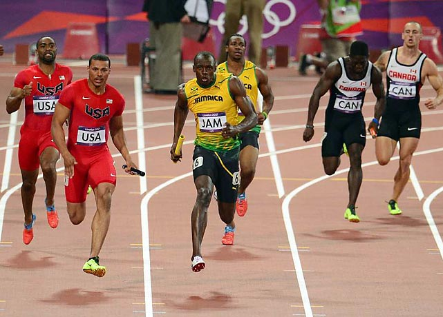 In the Games' last track event, Usain Bolt scorched the last 100 to hold off the U.S.'s Ryan Bailey and carry Jamaica to a world-record-crushing time of 36.84 and his third London gold.