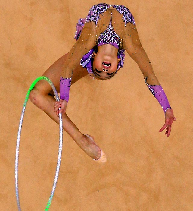 Yeon Jae Son competes during the Individual All-Around Rhythmic Gymnastics final.