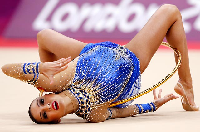 Evgeniya Kanaeva of Russia competes during the Individual All-Around Rhythmic Gymnastics final.