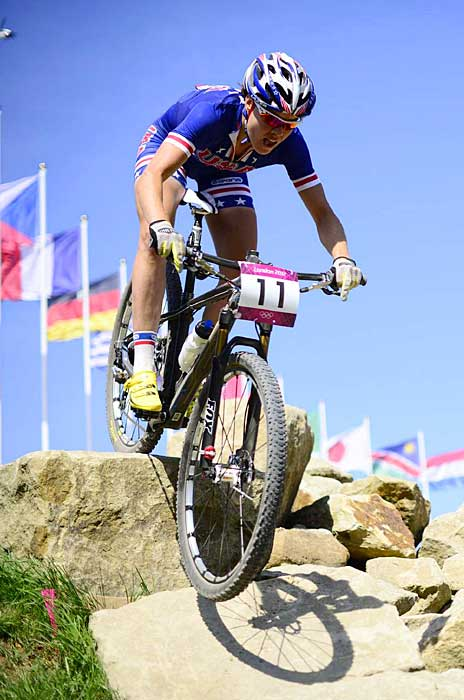 Georgia Gould of the U.S. (pictured) won the bronze medal in the mountain biking competition. France's Julie Bresset won the gold medal and Sabine Spitz of Germany earned silver.
