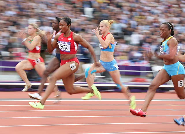 Carmelita Jeter of the U.S. opened her campaign for the 100-meter gold in smoking fashion, powering through her heat in 10.83 seconds, the third-fastest time in Olympic history.