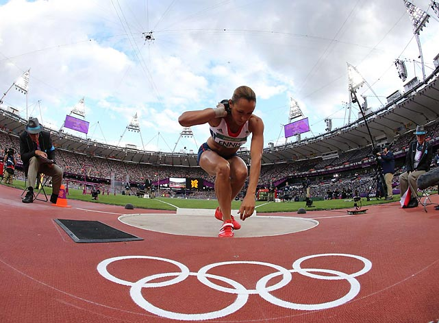 Jessica Ennis of Great Britain took the first-day lead in the heptathlon. The event concludes Saturday with the long jump, javelin and 800.