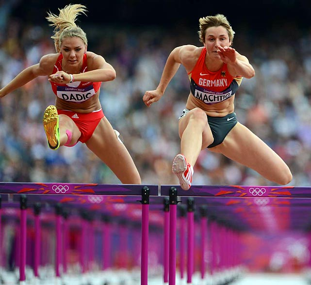 Julia Machtig of Germany competes in the heptathlon 100m hurdles against Ivona Dadic of Austria.