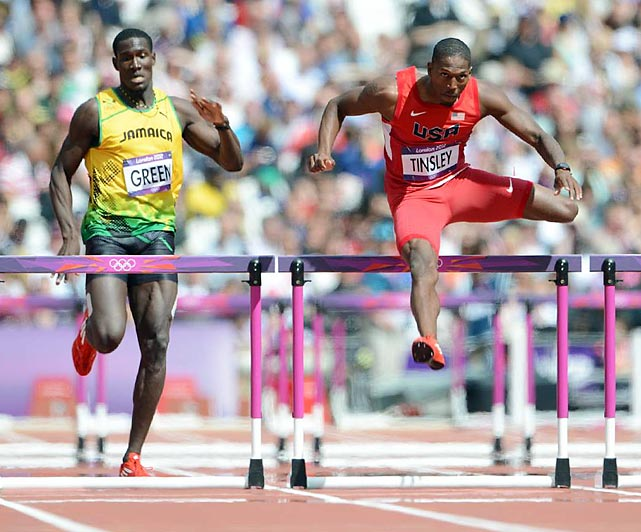 American 400m hurdler Michael Tinsley won his heat in 49.13 seconds, just ahead of Jamaican Leford Green. Tinsley qualified tied for fifth to advance to the next round on Saturday, Aug. 4.