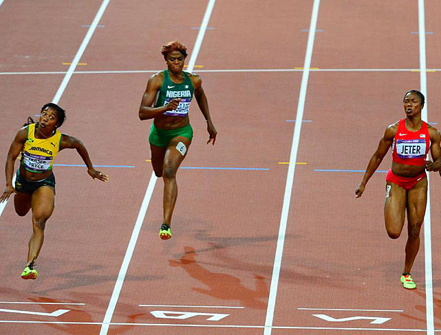 Shelly-Ann Fraser-Pryce (far left) defended her title as the world's fastest woman, edging Carmelita Jeter of the U.S. in the 100-meter final. Fraser-Pryce won in a time of 10.75, which was .03 faster than Jeter.