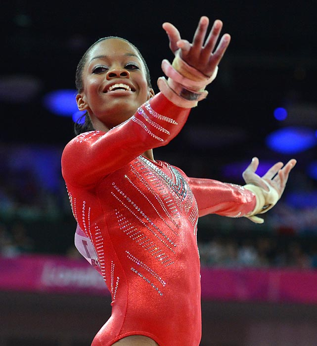 Douglas soars during her uneven bar routine for the women's team final of the Olympics. Nailing every event of the day, Douglas helped lead Team USA to the gold medal.