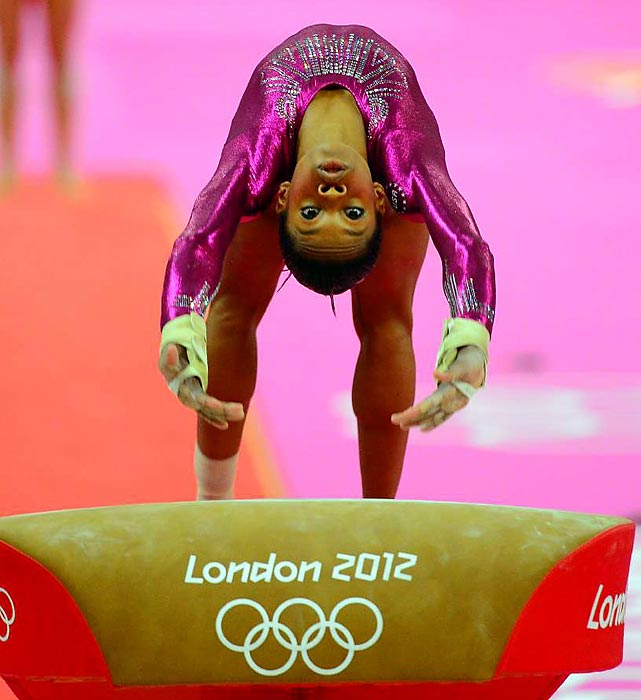 Gabby Douglas, the 16-year-old Olympic gold medalist, vaults during the individual all-around competition during day six of the Olympics.
