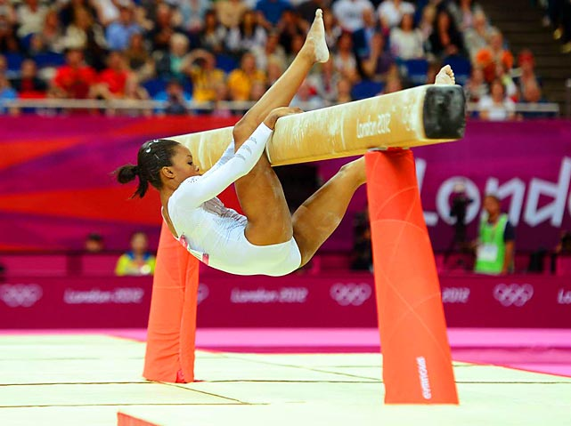 Gabby Douglas, individual all-around Olympic champion, fell off the beam during the individual beam competition, just days after winning all-around gold.