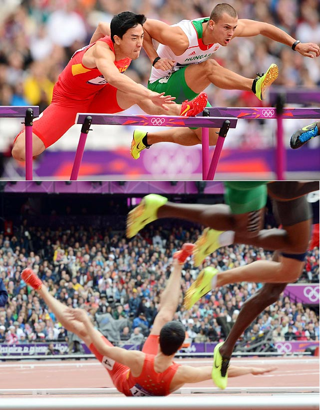 Liu Xiang, China's premier hurdler, clipped the first hurdle of the race and fell, failing to even finish the race.