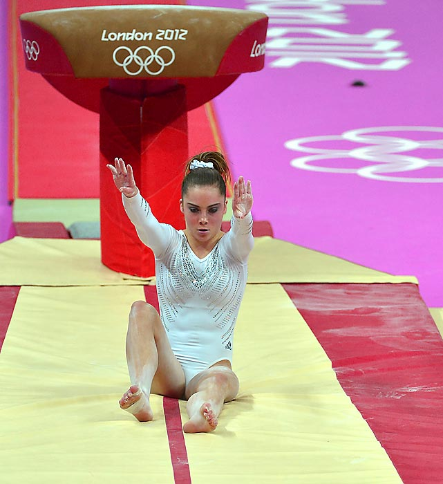 American gymnast McKayla Maroney was favored to take gold in individual vault. On her second of two vaults, Maroney shocked the world when she failed to stick the landing--and ended in a sitting position on the mat.