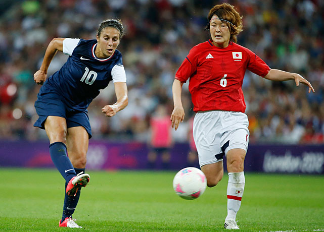 Carli Lloyd scores her second goal of the game, this one in the 54th minute with Mizuho Sakaguchi unable to stop her in time.