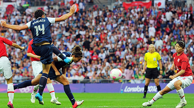 Carli Lloyd got to the ball just before Abby Wambach was going to kick it.