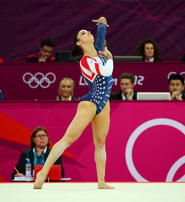 Aly Raisman won the gold medal on the floor exercise, increasing her medal haul at the London Games to three. Her other medals were gold in team all-around and bronze on the balance beam after she sucessfully appealed her final score.
