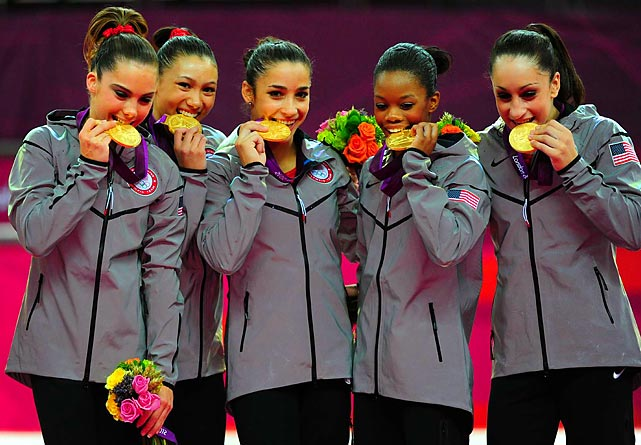 After losing to China at the Beijing Games, the United States assembled one of  the best women's gymnastics team in history. Nicknamed the Fab Five, the women's team took all-around gold for the first time since 1996.