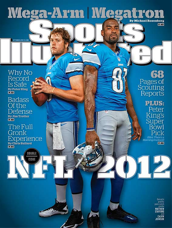 Matthew Stafford and Calvin Johnson, the most prolific quarterback-receiver combination in football, have lifted the Lions -- and are ready to shake up the record book, too. Read Michael Rosenberg's enthralling cover story, Megatron and Mega-Arm, in this week's SI.