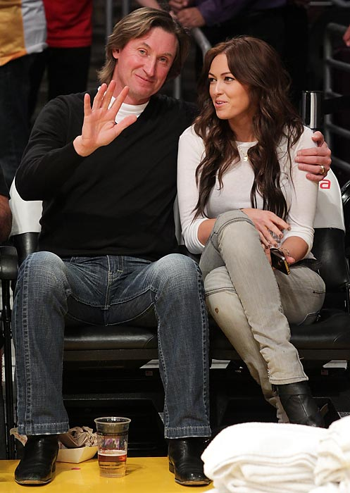 Wayne Gretzky and his daughter Paulina ttend a game between the Utah Jazz and the Los Angeles Lakers at Staples Center.