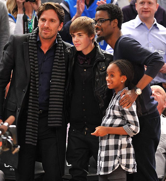 Chris Rock and his daughter Lola, along with Henrik Lundqvist and Justin Bieber at a New York Knicks-Dallas Mavericks game.