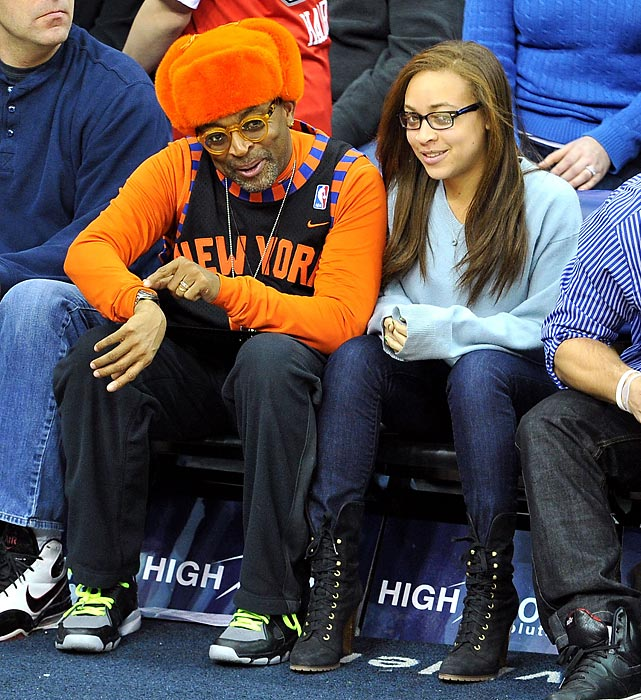 Spike Lee and daughter Satchel at a New York Knicks-New Jersey Nets game in Newark, N.J.