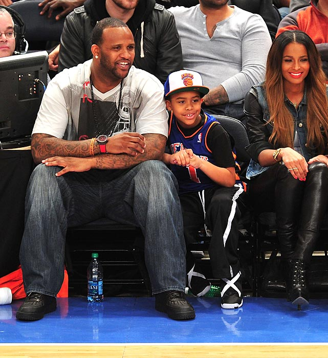 CC Sabathia, his son and Ciara at an Orlando Magic-New York Knicks game at Madison Square Garden.