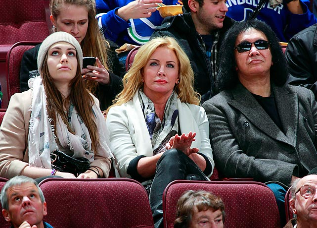 Gene Simmons, his wife Shannon Tweed and their daughter Sophie watch the Vancouver Canucks and Anaheim Ducks at Rogers Arena in Vancouver, British Columbia, Canada.