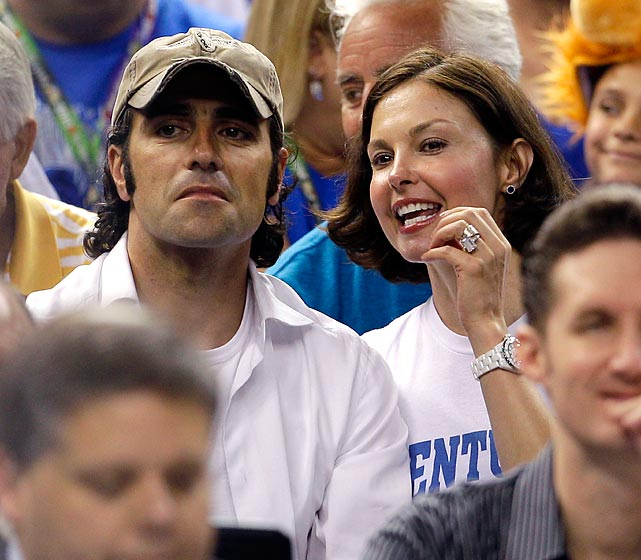 Actress Ashley Judd and her husband, two-time Indianapolis 500 winner Dario Franchitti at the 2012 NCAA Final Four championship game between Kentucky and Kansas.