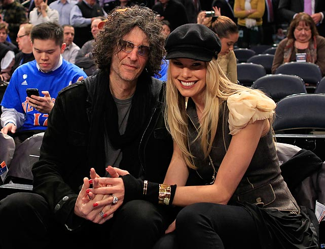 Howard Stern and his wife Beth at a Cleveland Cavaliers-New York Knicks game at Madison Square Garden.