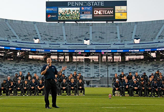 Before Saturday's game, coach Bill O'Brien addresses Penn State fans at the Friday night Football Eve rally.