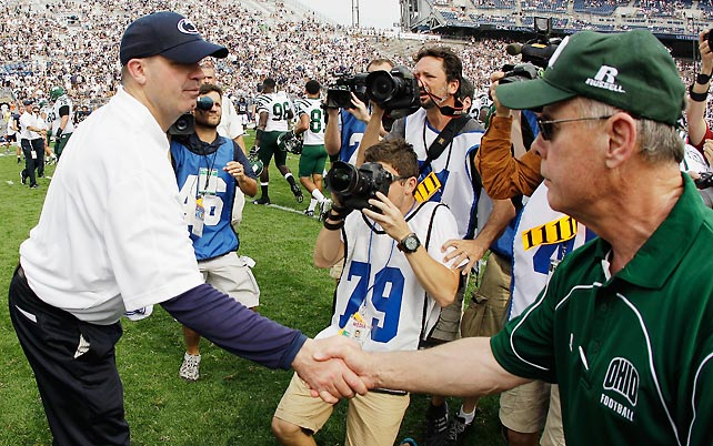 Penn State coach Bill O'Brien shakes hands with Ohio coach Frank Solich after the Bobcats' 24-14 win over the Nittany Lions.