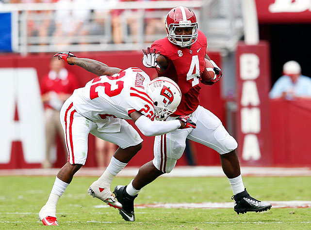 Just like it did in Week 1, Alabama overwhelmed its opponent in a game where the outcome was never in doubt. Quarterback AJ McCarron threw for 219 yards and four touchdowns, freshman T.J. Yeldon (pictured) rushed for 25 yards and the Crimson Tide defense simply stifled Western Kentucky. The Hilltoppers totaled a meager 226 total yards in Alabama's 35-0 rout.