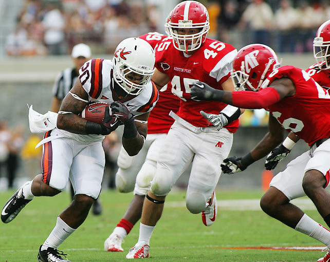 After edging past Georgia Tech last Monday, Virginia Tech cruised to a much larger margin of victory against Austin Peay. Quarterback Logan Thomas completed 16-of-24 attempts for 220 yards and two touchdowns, and running back Michael Holmes (pictured) scampered for an additional 40 yards and two scores. Ten different Hokie receivers caught passes in the victory.