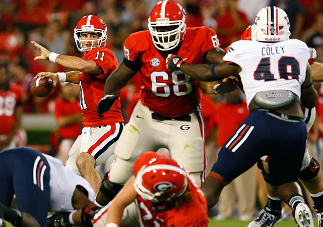 For Aaron Murray, the individual records are just a bonus. The Georgia quarterback has his sights on a title. Murray passed for a career-best 342 yards and accounted for four touchdowns -- two passing, two rushing -- to lead the  Bulldogs back from another slow start for a whipping of Florida Atlantic.
