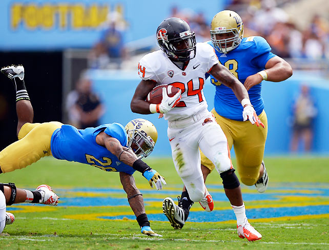 Oregon State has only played two games this season, but they've both been memorable. The Beavers knocked off ranked Wisconsin in Week 2 and upset ranked UCLA today. Storm Woods (pictured) rushed for 90 yards and a touchdown, while Sean Mannion passed for 369 yards and two touchdowns. Oregon State's defense did its part as well, limiting UCLA to a 13-percent success rate on third-down conversions.