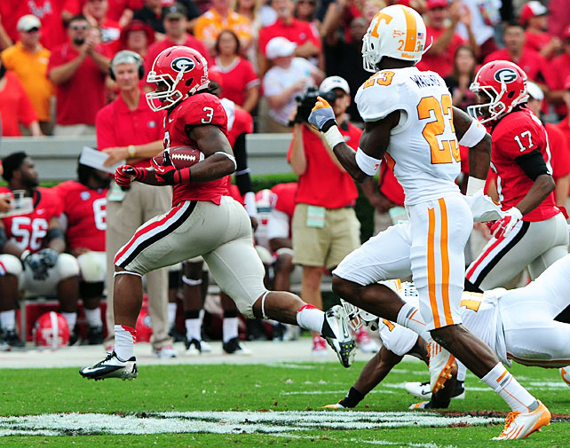 Tennessee gave Mark Richt and Co. a scare, but Georgia held on late to improve to 5-0. Aaron Murray threw for 277 yards and two touchdowns, and the Bulldogs' freshmen running backs thrived, with Keith Marshall racking up 165 yards and two scores and Todd Gurley (pictured) racing for 131 yards and three touchdowns. Vols' quarterback Tyler Bray threw for 280 yards and two scores in defeat, but he also tossed three interceptions and coughed up a costly fumble with 1:42 remaining in the fourth quarter.