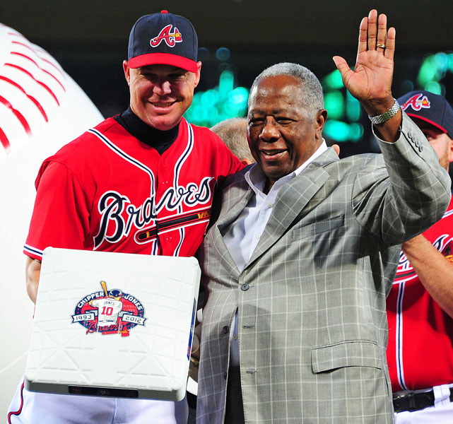 "On September 28, a day dubbed ""Chipper Jones Day"" by the governor of Georgia, Atlanta honored their third baseman. Teammates gave him a pool table. The Braves organization added a number of gifts, topped off with a Hawaiian vacation. The bases and on-deck circles for the team's final home stand are stamped with the Chipper Jones logo (as seen in the photo of Jones and Hall of Famer Hank Aaron) and will be auctioned off for charity."